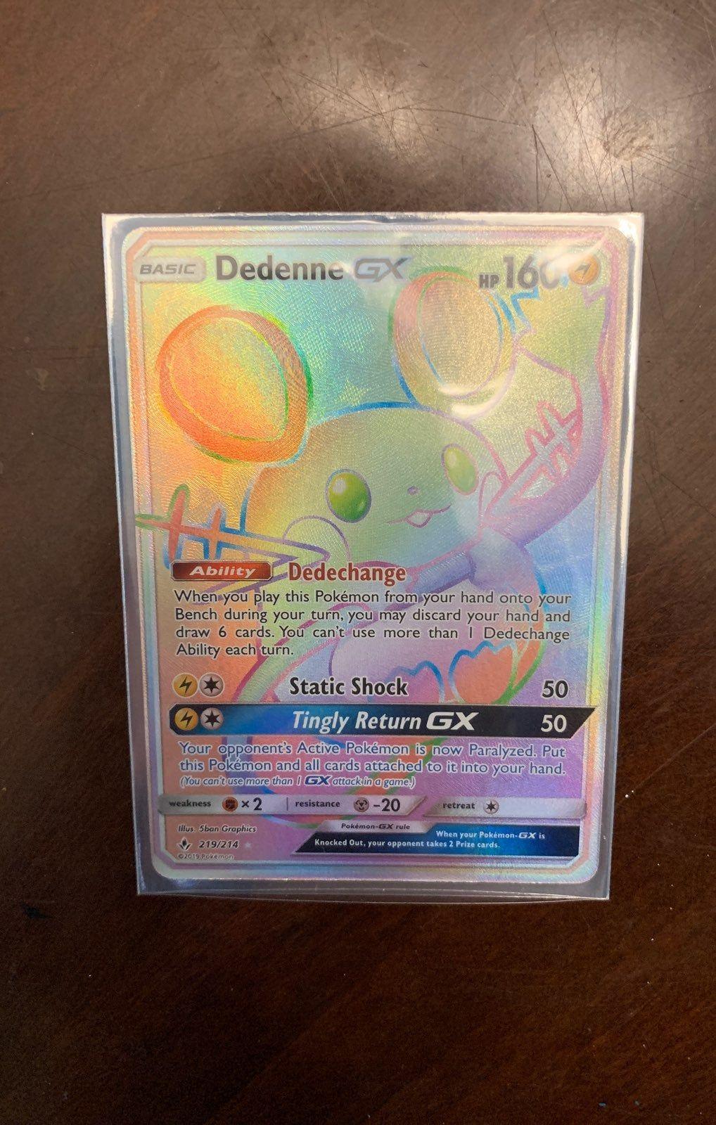 Dedenne gx rainbow rare 219214 pokemon trading card