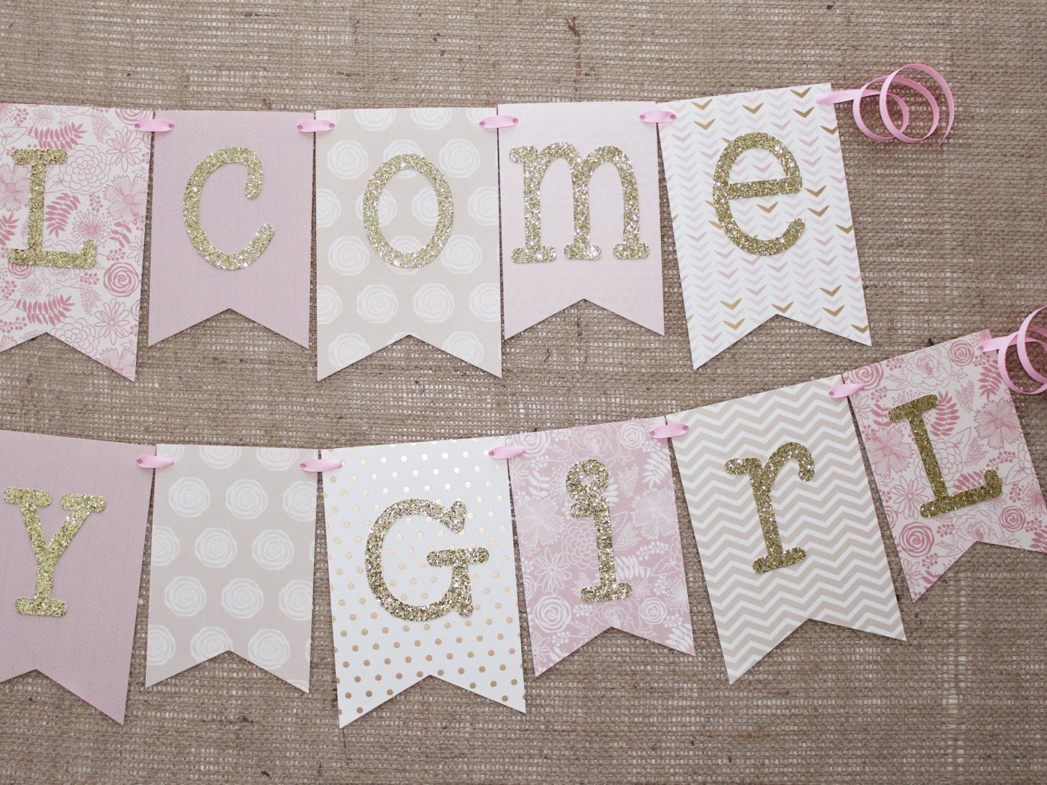 Baby Shower Banner Pink And Gold Baby Shower Banner 10 Gold Baby Showers Shower