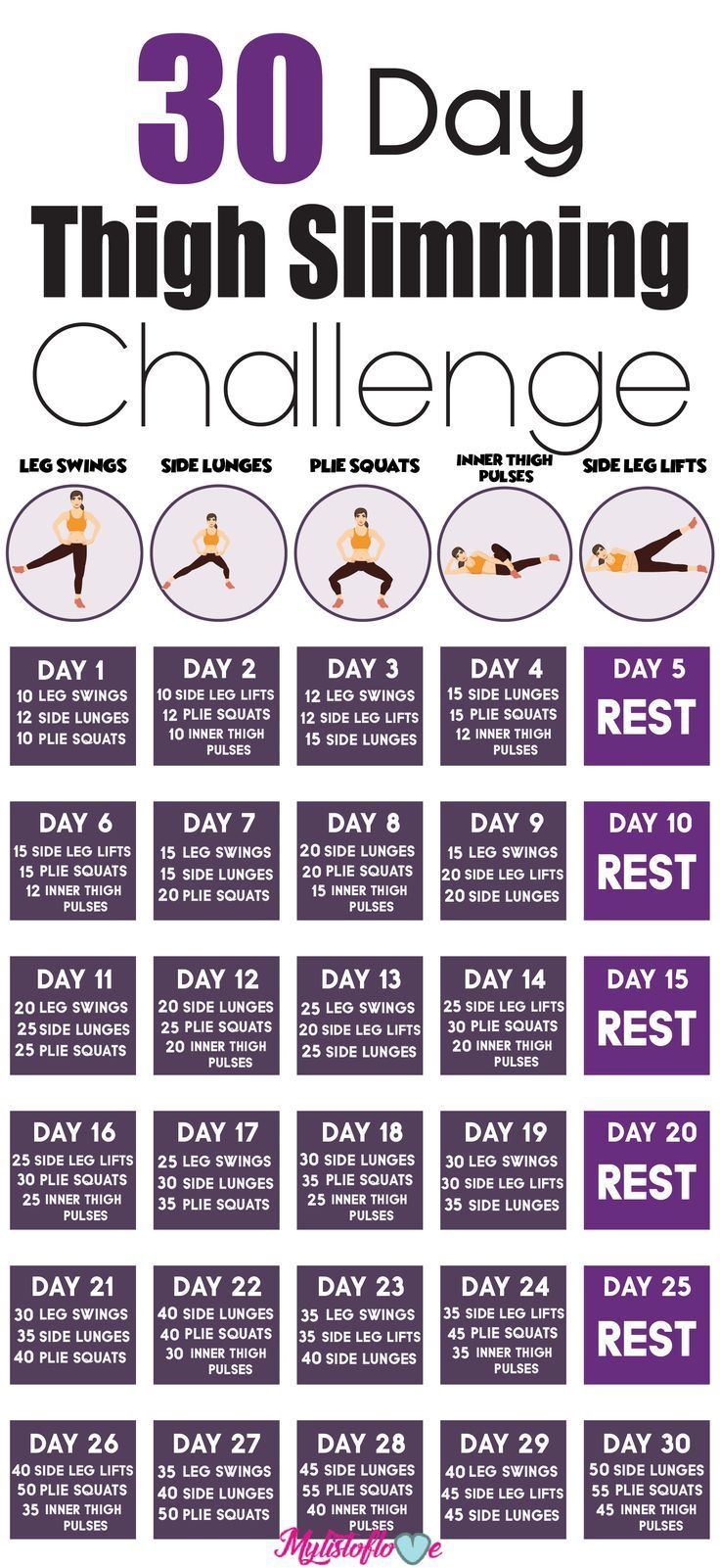 30 day thigh slimming challenge #fitnesschallenges
