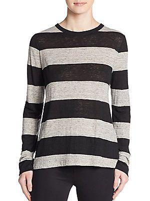 A.L.C. Maybeck Striped Linen Tee - White - Size