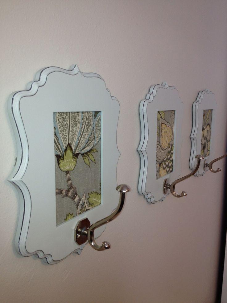 awesome DIY coat hooks using frames, scrapbook paper and hooks ...