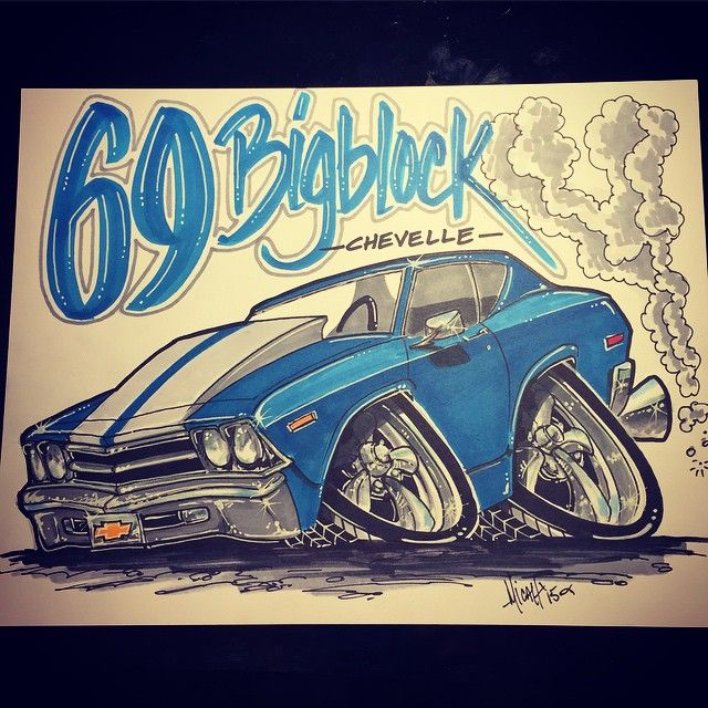 69 chevelle big block rendering drawing cartoon.