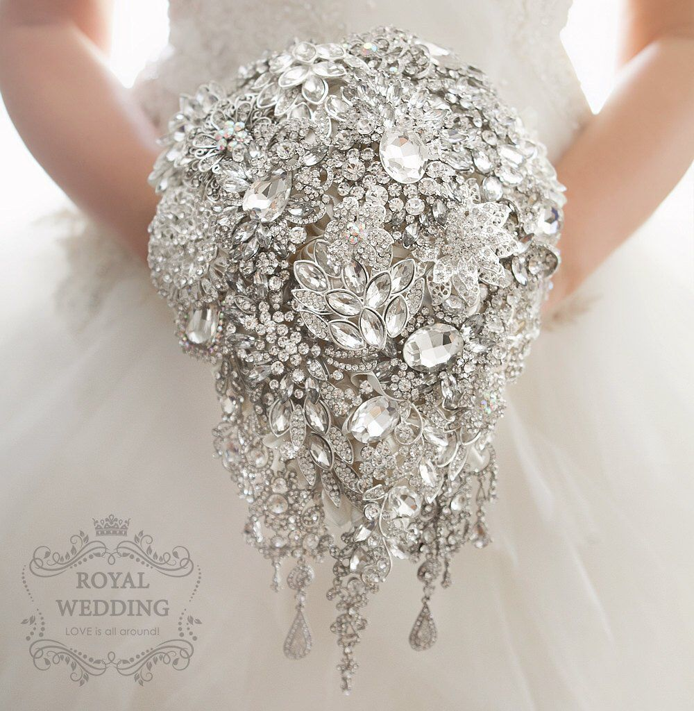 Cascade Crystal Silver Brooch Bouquet Art Deco Jewelry