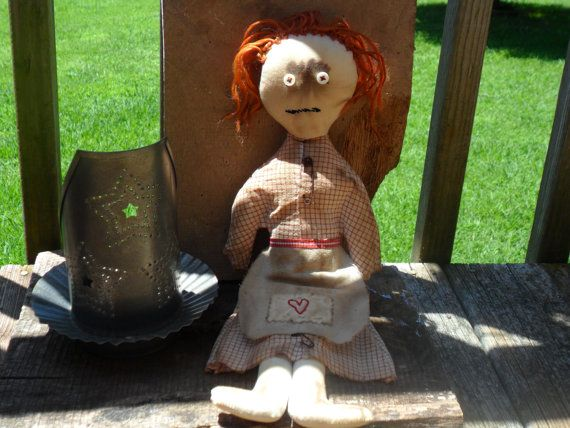 Primitive Red Headed Love Lady Doll by GKsCreations on Etsy, $17.95