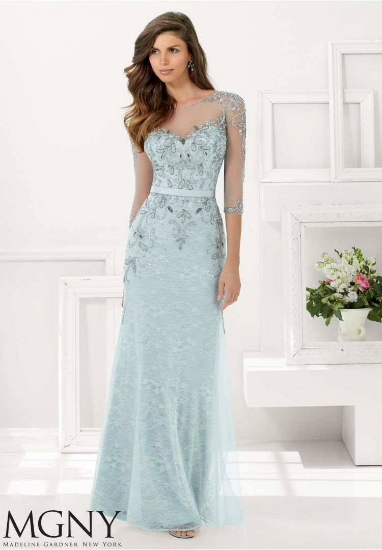bc4a9d2577 Evening Gowns and Mother of the Bride Dresses by MGNY Beaded Net over Lace  Available in Navy