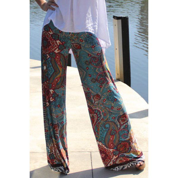 $9.05 Retro Style Elastic Waist Floral Print Exumas Pants For Women
