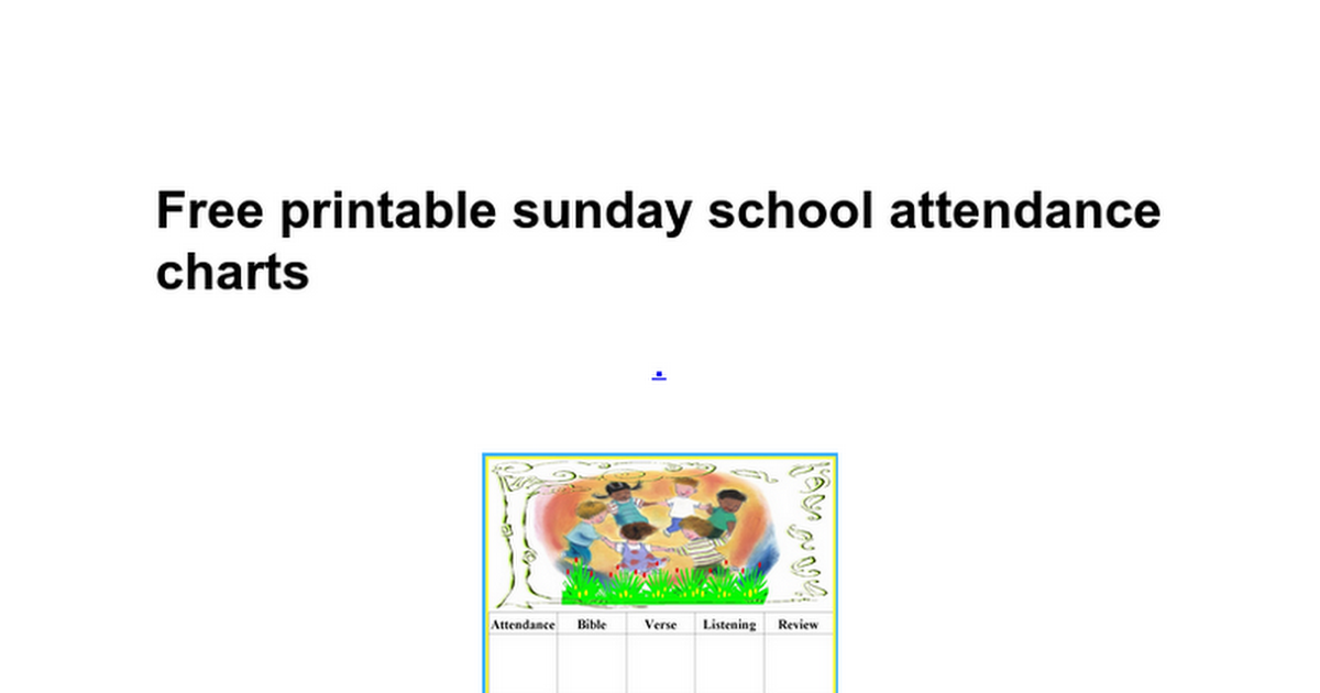 free printable sunday school attendance charts download school