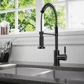 Sir Faucet Antique Bronze 1 Handle Deck Mount High Arc Handle Kitchen Faucet Lowes Com Kitchen Faucet Black Kitchen Faucets Farmhouse Sink Faucet