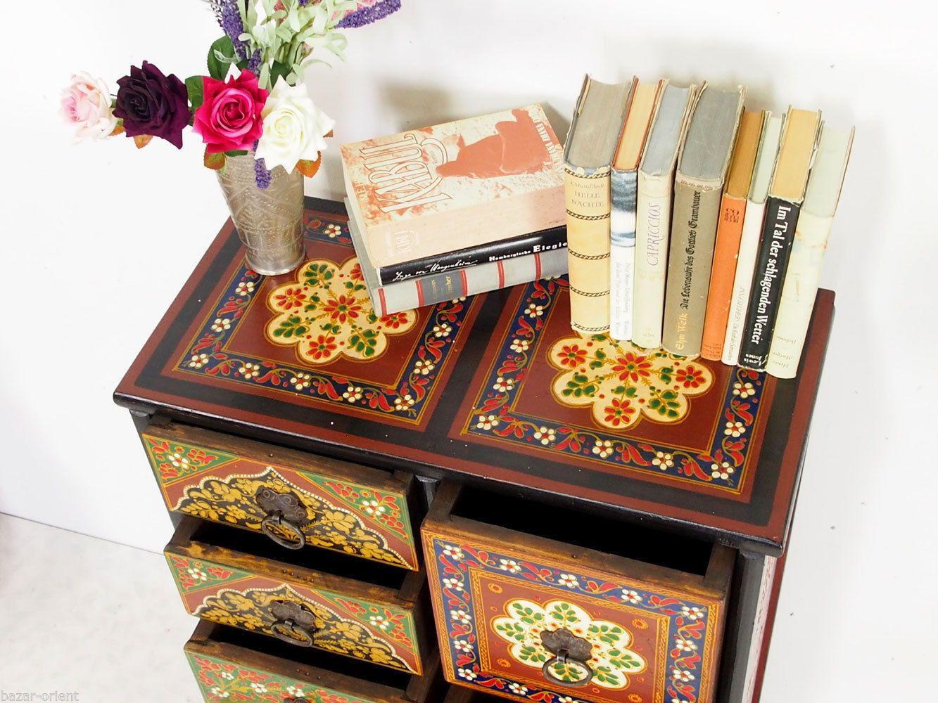 Orientalische Kommode handbemalte massiv holz orientalische kommode schrank cabinet