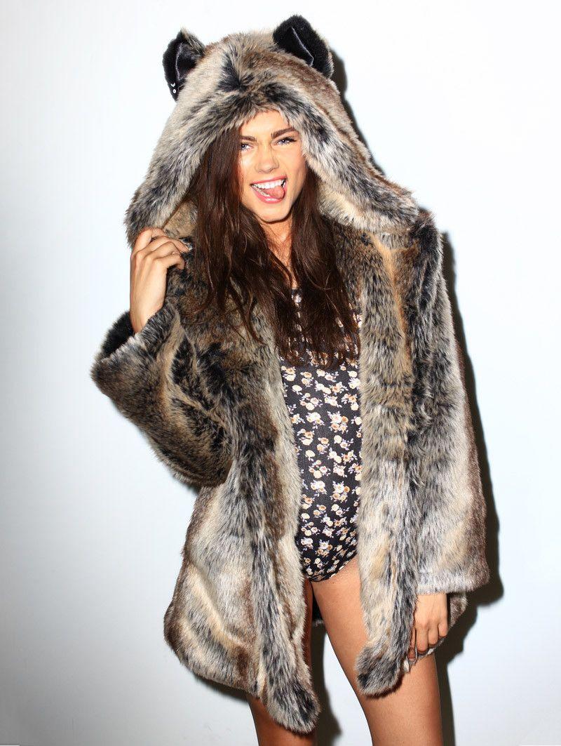 998eb53afc Classic Grey Wolf Faux Fur Coat in 2019 | boyish chic style ...