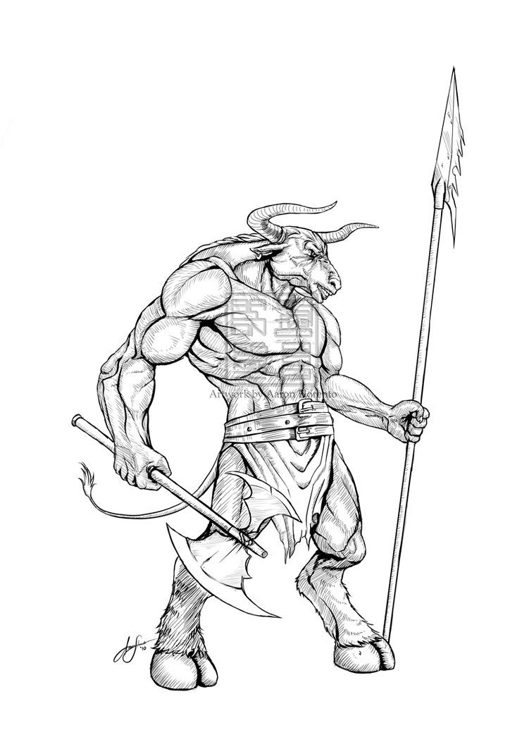Minotaur From Greek Mythology Line Drawing Bing Images Minotaur Coloring Pages