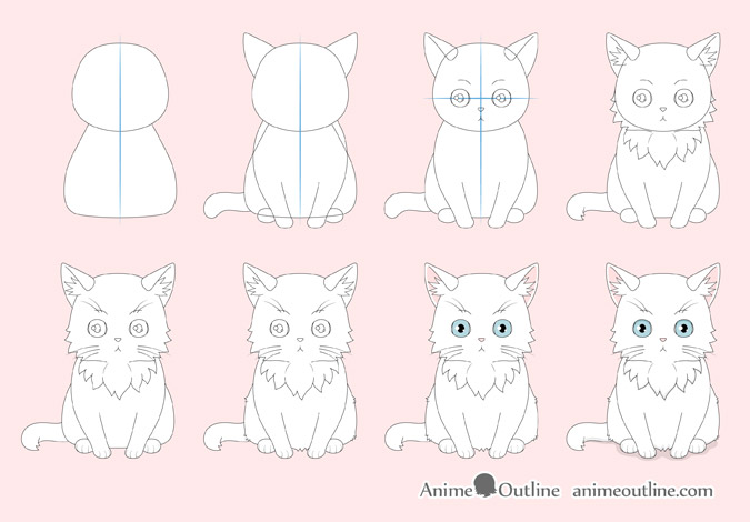How To Draw An Anime Cat Step By Step Animeoutline In 2020 Anime Cat Anime Kitten Cat Steps