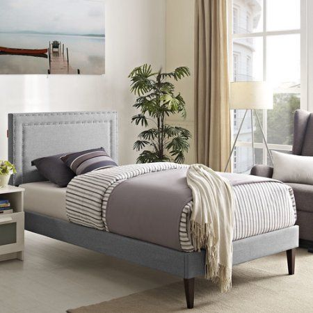 Modway Jessamine Twin Upholstered Platform Bed with Squared Tapered ...