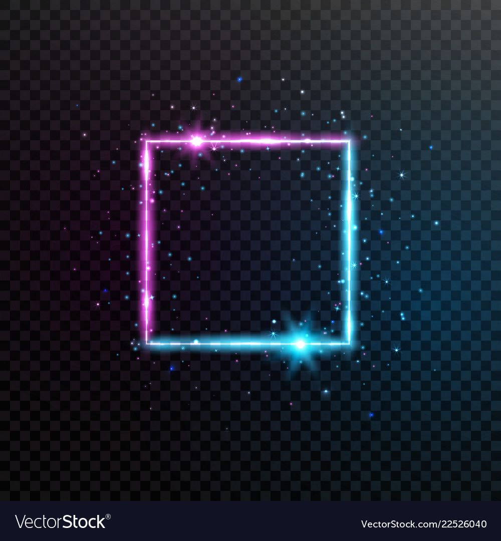 Neon square frame. Bright blue and violet glowing banner