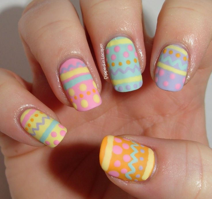 Pastel Easter egg inspired nail art for spring. Spring nails, pastel ...