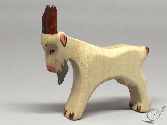 Toy goat father wooden grey white colourful standing Size