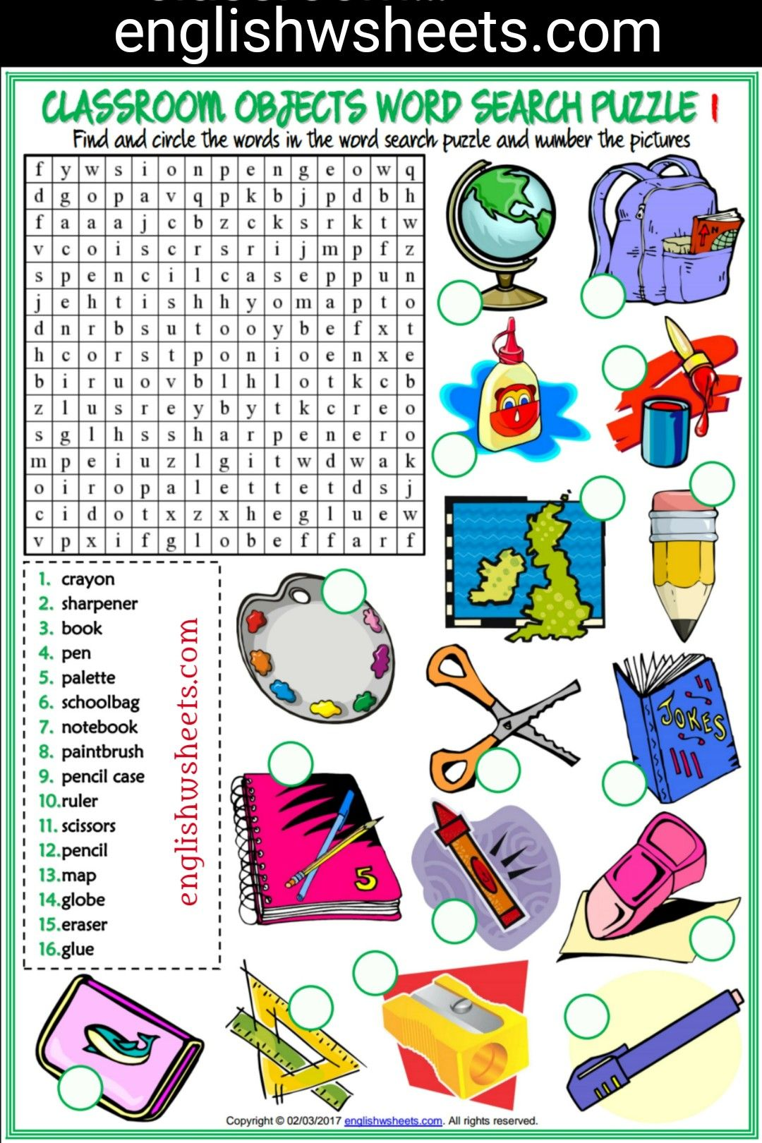 Classroom Objects Esl Printable Word Search Puzzle Worksheets For Kids Classroom Objects Esl