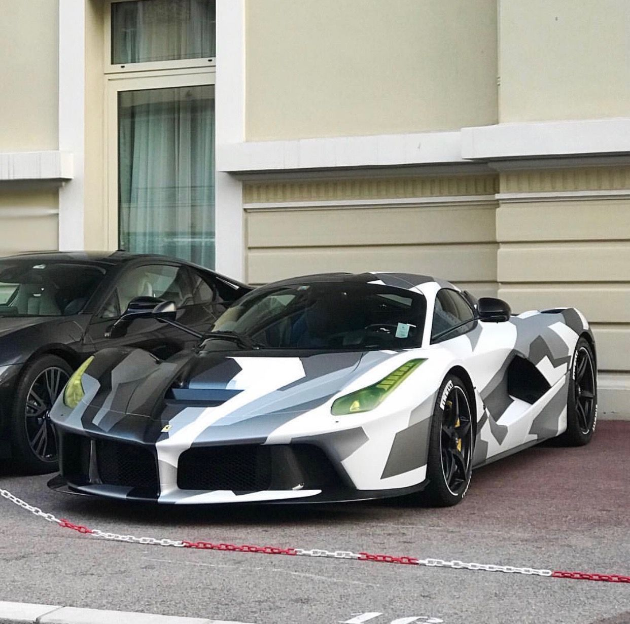 Ferrari Laferrari Painted In Grigio And Wrapped In A Black White And Gray Rectangular Camouflage Photo Taken By Seenthroughglass On Instagram Owne Sieu Xe
