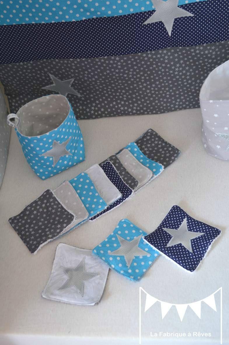 pochon lingette lavable étoiles bleu marine turquoise argent ...