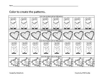 A Cute Patterning Worksheet For ValentineS Day Morning Work