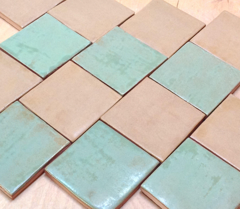 Handmade Field Tilespring Green And Ocher Combo For Etsy Kitchen Fireplace Pasta Tile Handmade Tiles