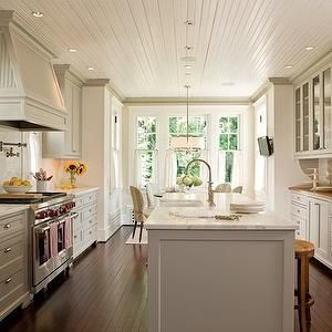 Anne Decker Architects - kitchens - beadboard kitchen ceiling, glossy white beadboard kitchen ceiling, overhead lighting, kitchen overhead l...