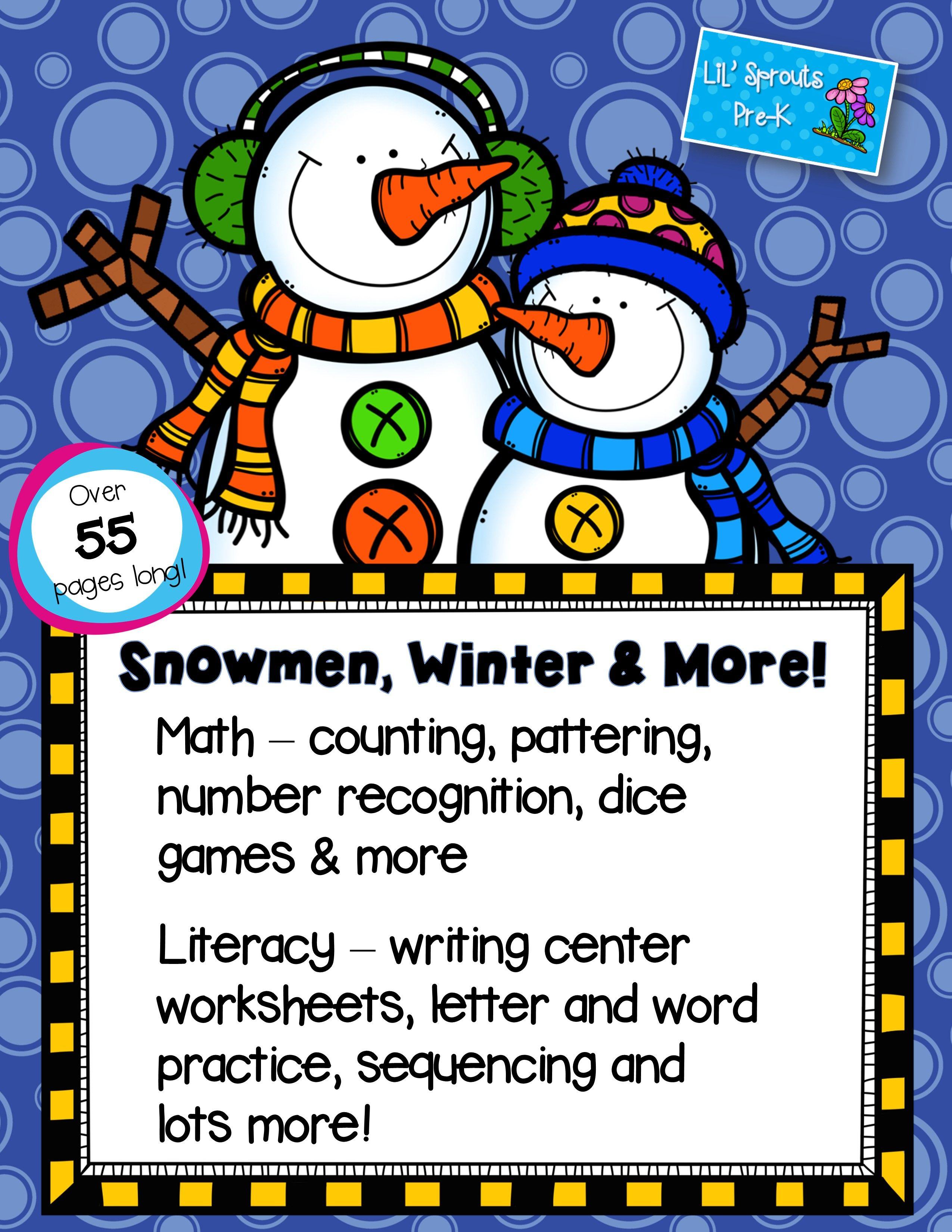 Winter Snowman Unit PreK/PreK/Kindergarten/Preschool