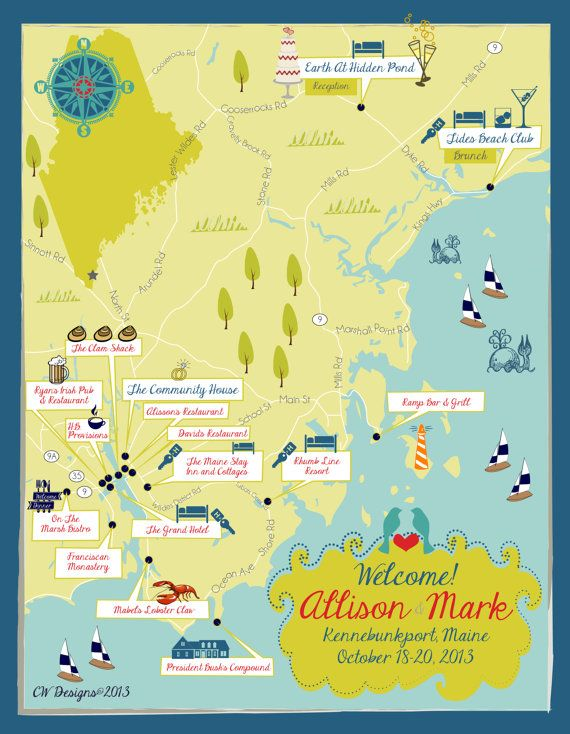 Kennebunkport Maine Map By Cwdesigns On Etsy Cwsdesignscom - Sweden maine map