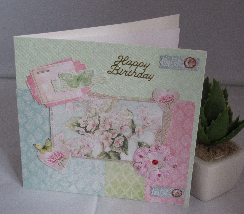 Geburtstagskarte Blumen In Hellrosa Handgemacht Von