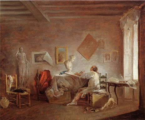 Hubert Robert, L'Atelier du peintre, entre 1763 et 1765, huile sur toile, 37 x 46 cm,  Rotterdam, Musée Boymans-van Beuningen