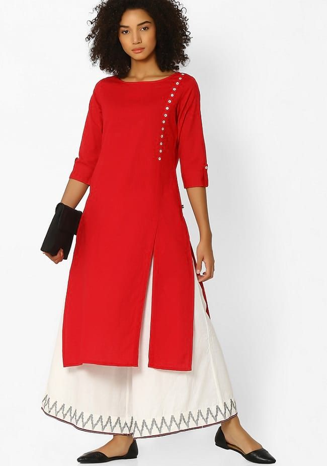 AVAASA Red Cotton Straight Kurta with Roll-Tab Sleeves | Women's ...