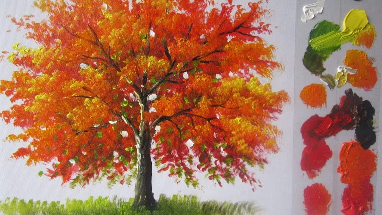How To Paint A Tree In Acrylics Lesson 4 Acrylic Painting Trees