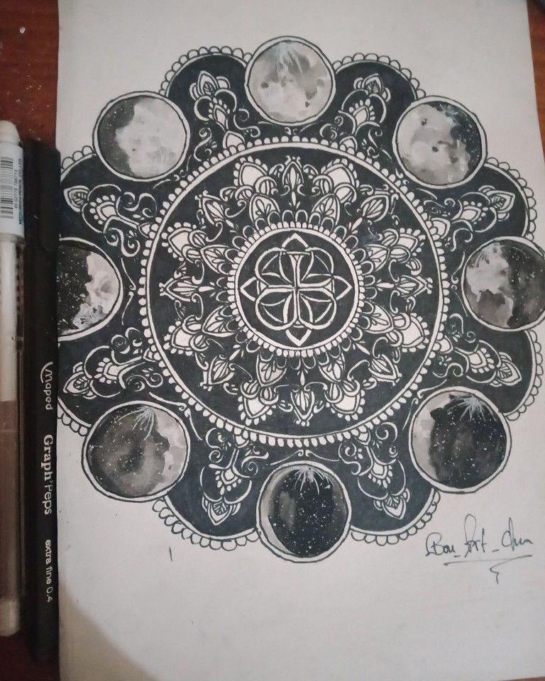 Moon Phases Mandala My Drawings Mandala Moon Phases