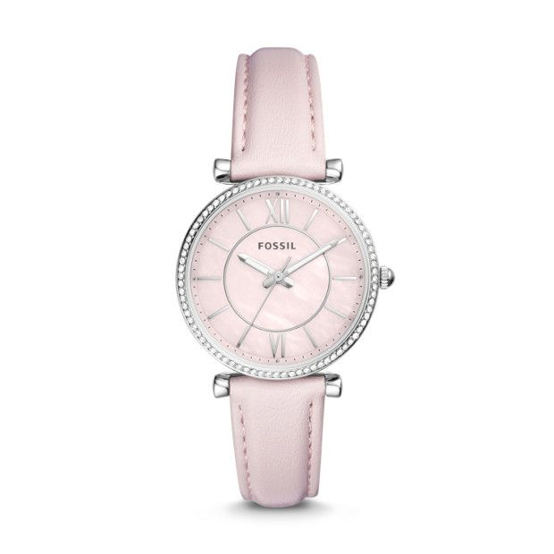 70c335776d30 Carlie Three-Hand Pastel Pink Leather Watch - Fossil