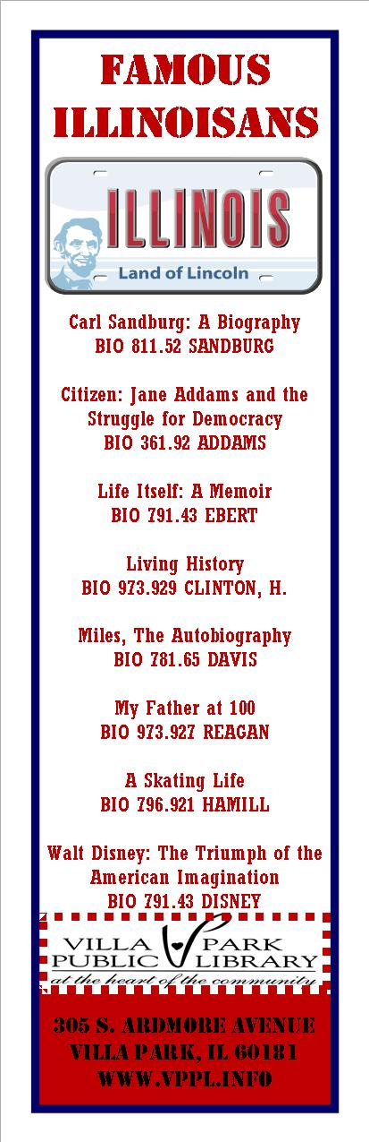 A list of some the biographies about famous Illinois citizens!