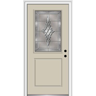 Verona Home Design Fibreglass Smooth 1 2 Lite 1 Panel Single Entry Door Finish Black Brilliant White Door Size 80 H X 32 W X 1 75 D Door Orient Wood Exterior Door Aluminum Screen