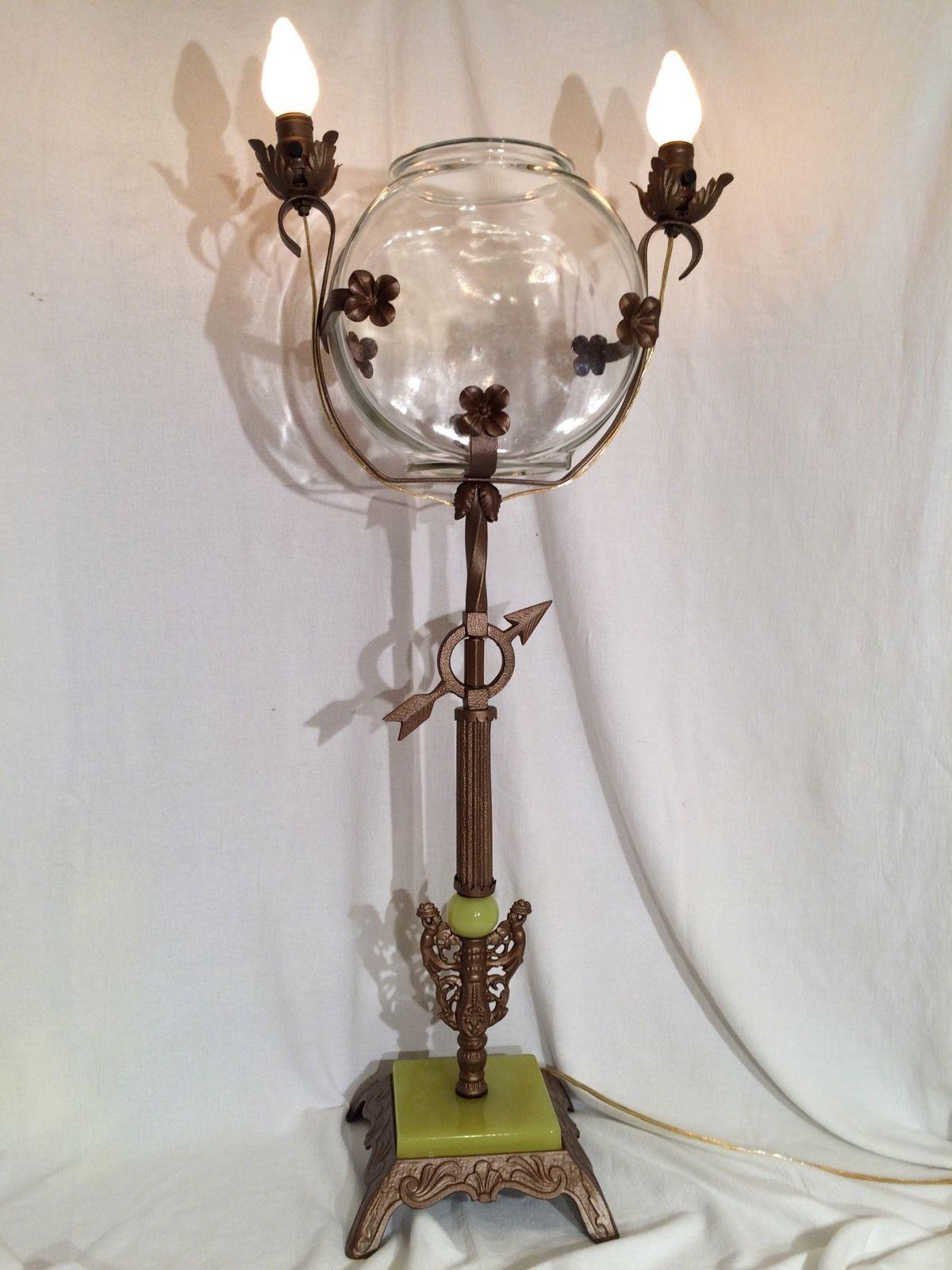 Rare Art Nouveau Antique 2 Light Fish Bowl Stand Floor