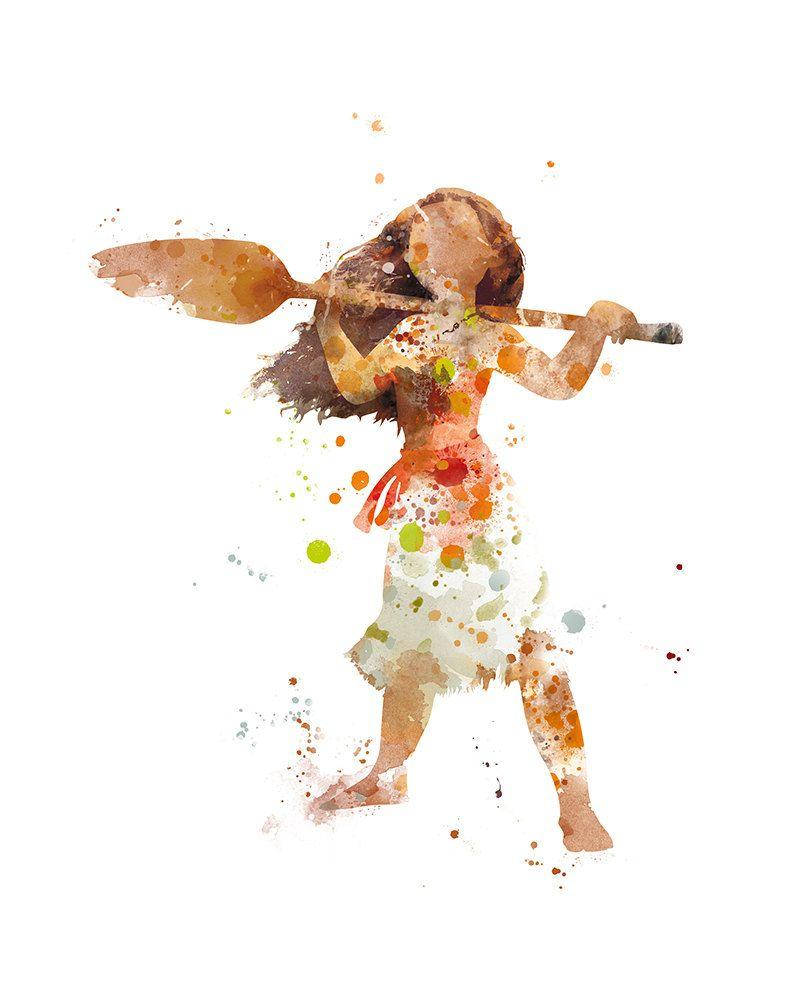 Di disney frozen wall murals - Princess Moana Print Watercolor Moana Art Disney Wall Art Moana Poster Artwork Printable Moana Birthday Gift