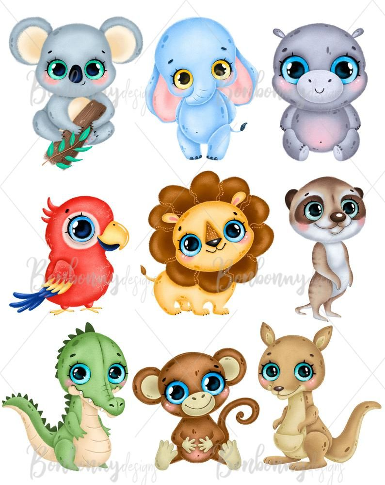 Tropical Animals Clipart Jungle Animals Clipart Safari Etsy In 2021 Cute Animal Clipart Baby Animal Drawings Animal Clipart