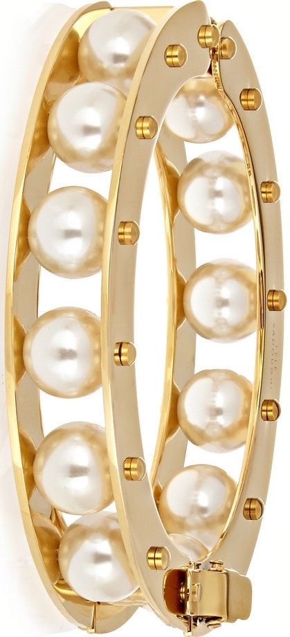 Stone Round Slider gold-plated faux pearl bracelet by LELE SADOUGHI