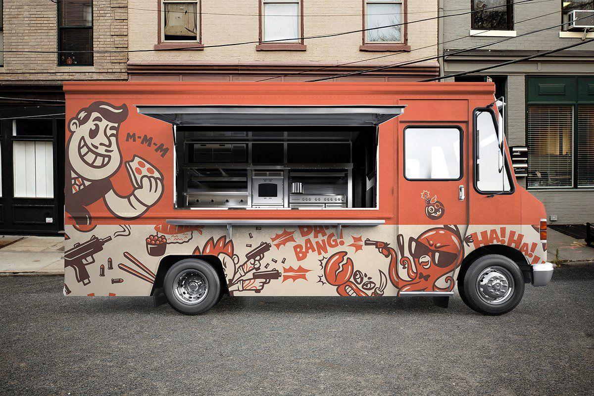 Food Truck Psd Mockup Food Truck Design Best Food Trucks Food Truck