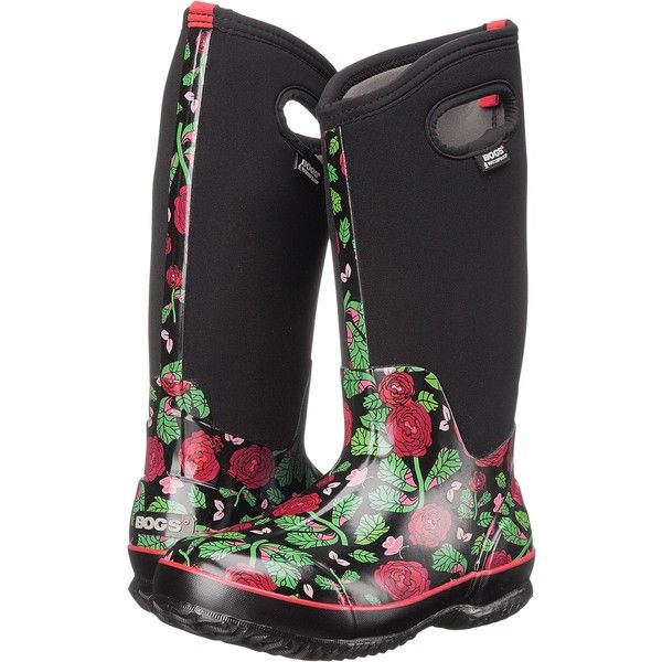 Bogs Classic Rose Garden Tall (Black) Women's Rain Boots (8345 RSD) ❤ liked  on Polyvore featuring shoes, boots, black, mid-calf boots, rubber boots…