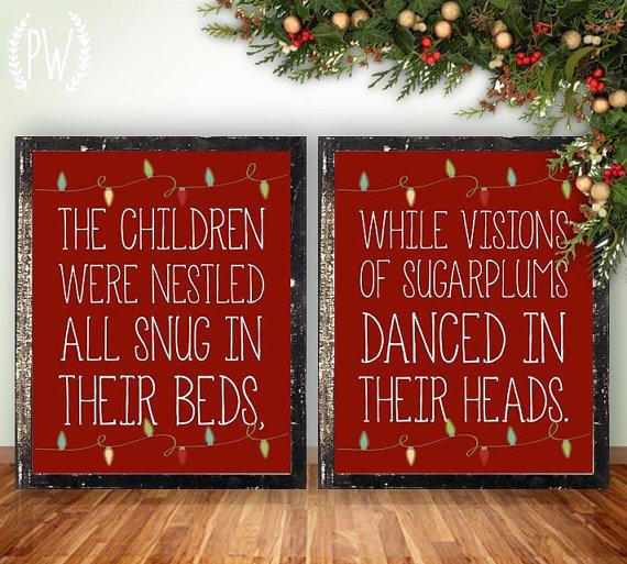 Christmas printable wall art, Twas the Night Before Christmas ...