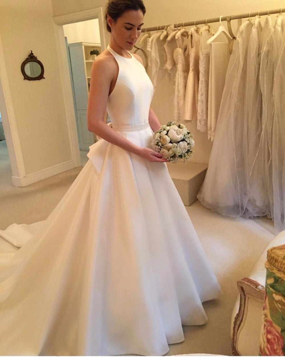 Modern Wedding Dresseshalter Dresses Satin: Long Halter Wedding Dresses At Reisefeber.org