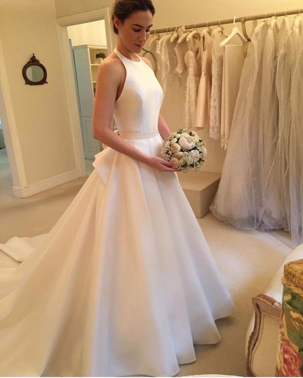 Lace up wedding dress november 2018 Wedding Dress Satin Wedding Dress Ivory Halter Simple Sleeveless