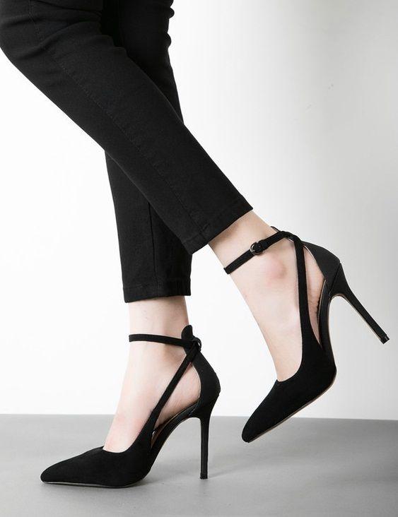 Elegant Black Pumps Thin High Heels