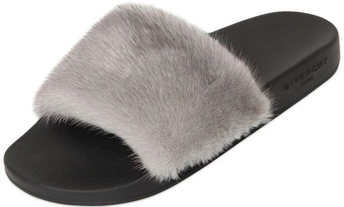 Givenchy Fur Slide Sandals  366909f9d