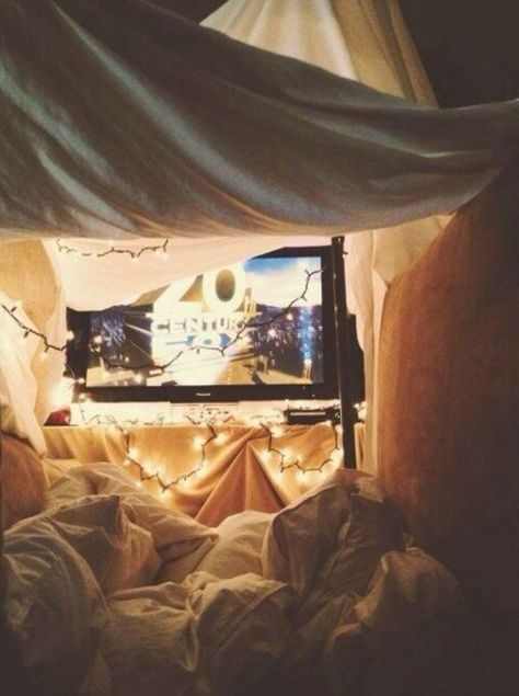 Perfect date idea inside. Love little blanket forts to cuddle up in and watch