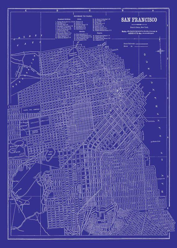 San francisco map street map vintage blueprint print poster cool san francisco map street map vintage blueprint print poster malvernweather Images