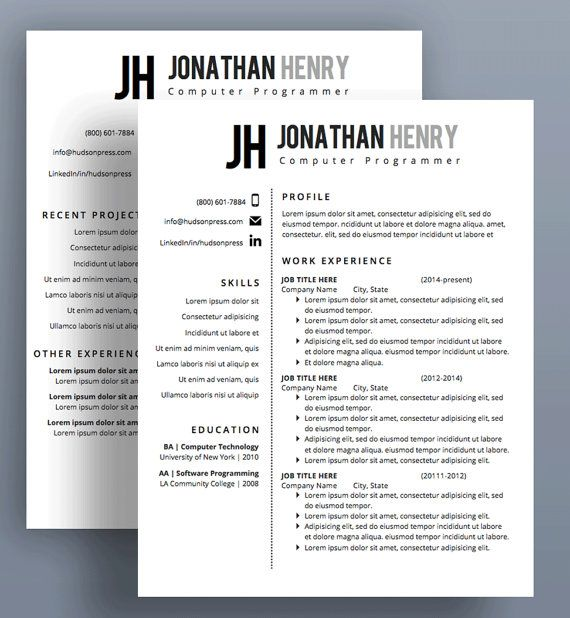 Resume Template Cover Letter Resume Template Cv Template Cover Lettertheportfoliocompany